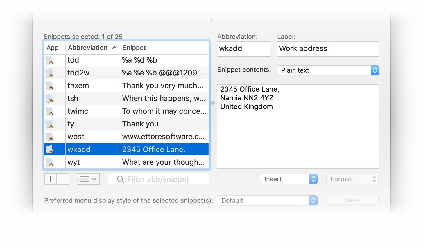 Screenshot of the snippet editing UI