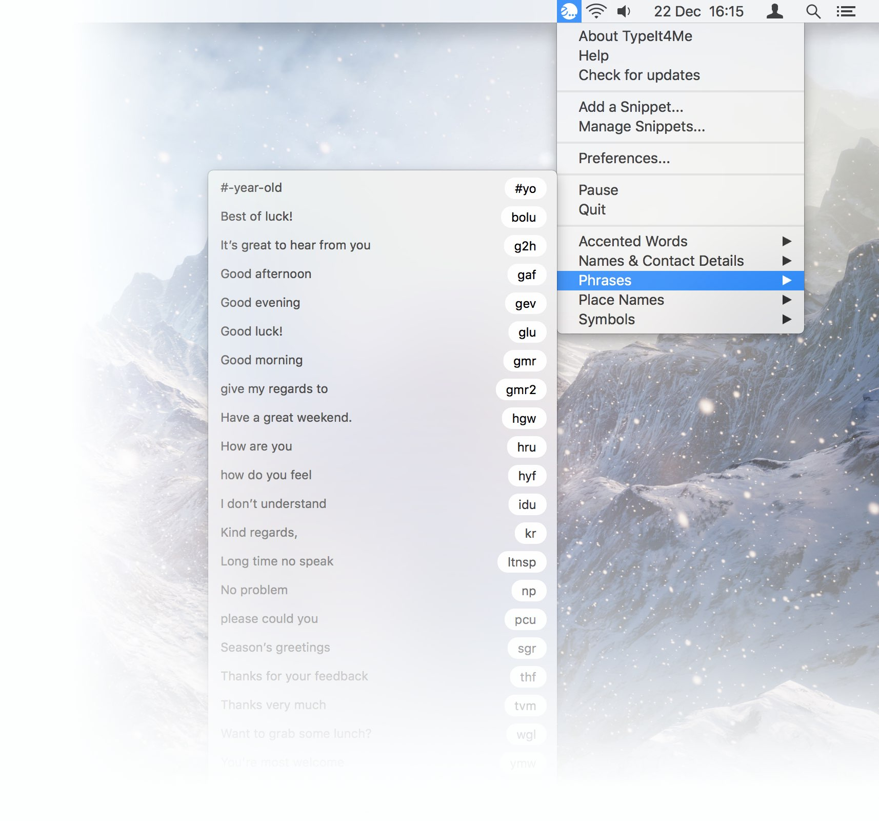 Screenshot of the TypeIt4Me menu bar snippet picker