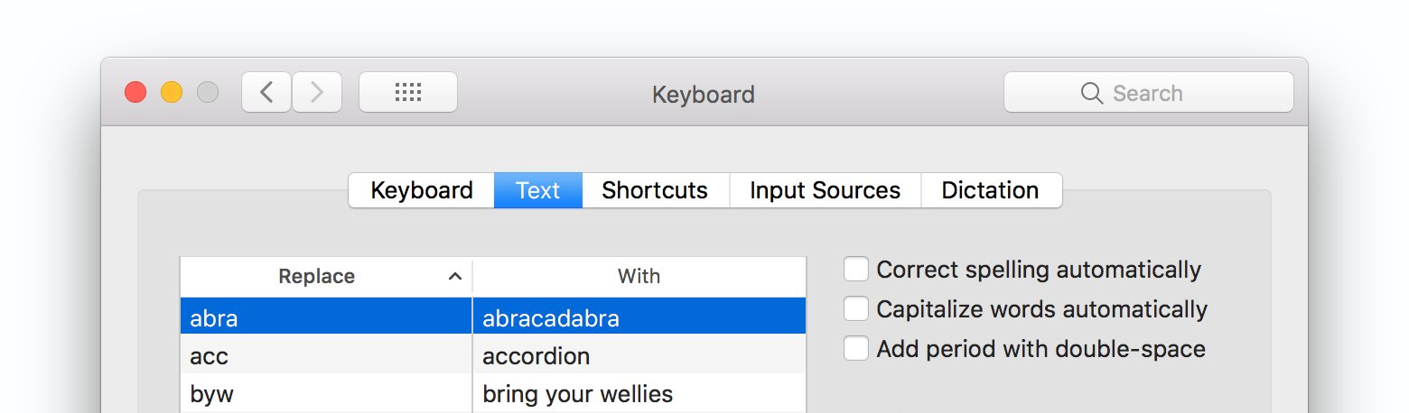 Screenshot of Apple Keyboard text replacements in system preferences