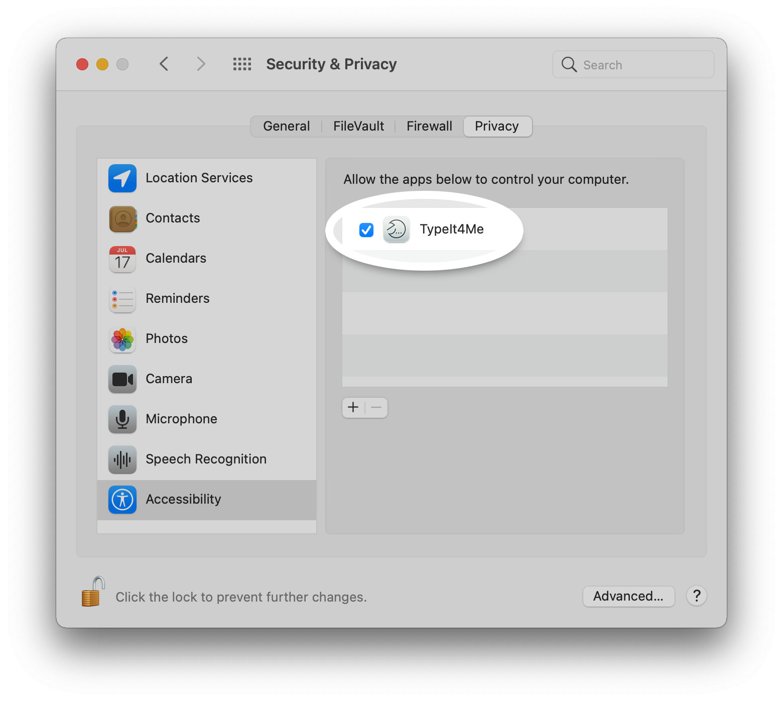 TypeIt4Me in the Accessibility section of Security & Privacy system preferences