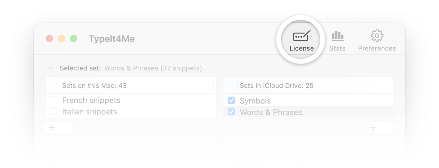 "Screenshot of the ""License"" button at the top of the TypeIt4Me app window"
